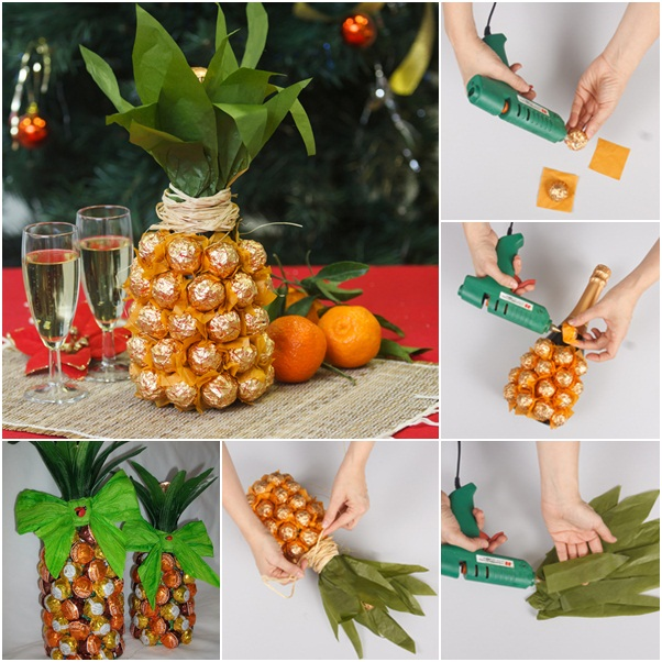 Creative gift wrap ideas wine bottle looks like pineapple creative gift wrap ideas for champagne and chocolates how to do it negle Gallery