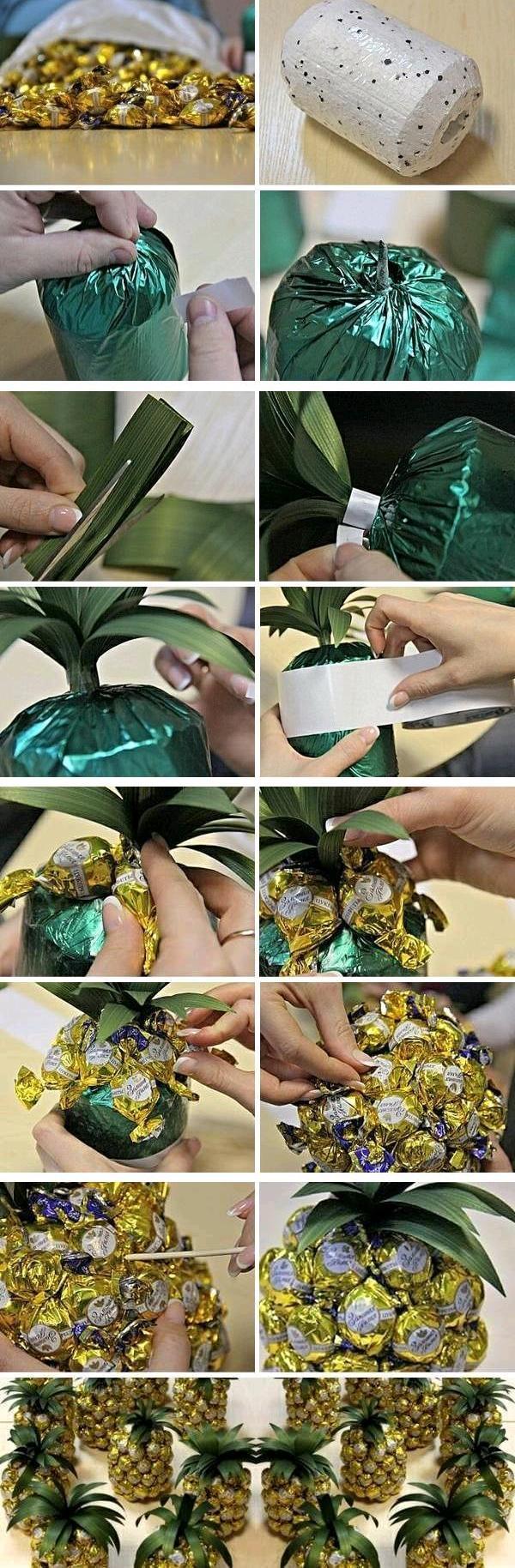 Creative gift wrap ideas wine bottle chocolates pineapple look