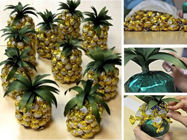 Creative gift wrapping ideas pineapple chocolates