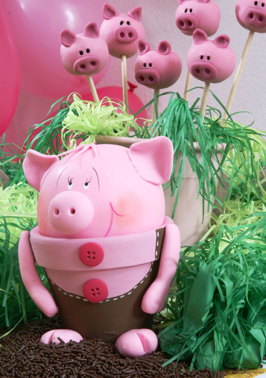 DIY garden decor idea cute piggy flower pot clay