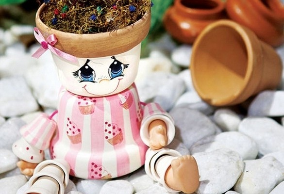 & DIY garden decoration ideas - Dolls made of clay flower pots