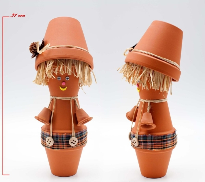 DIY garden decoration ideas doll teracotta  pots boy