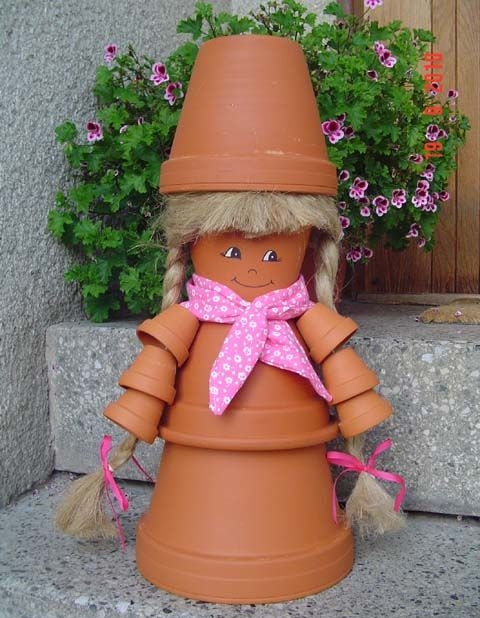 DIY home decorations clay pots diffrent sizes doll