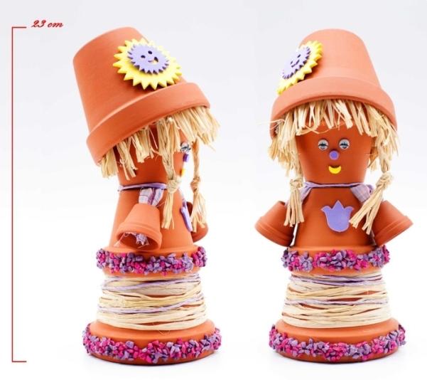 DIY garden decor idea cute girl doll pots