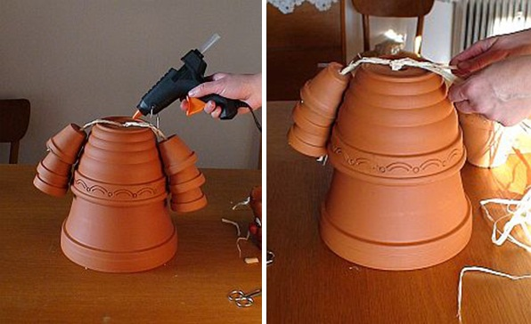 DIY garden decorations dolls teracotta flower pots ideas