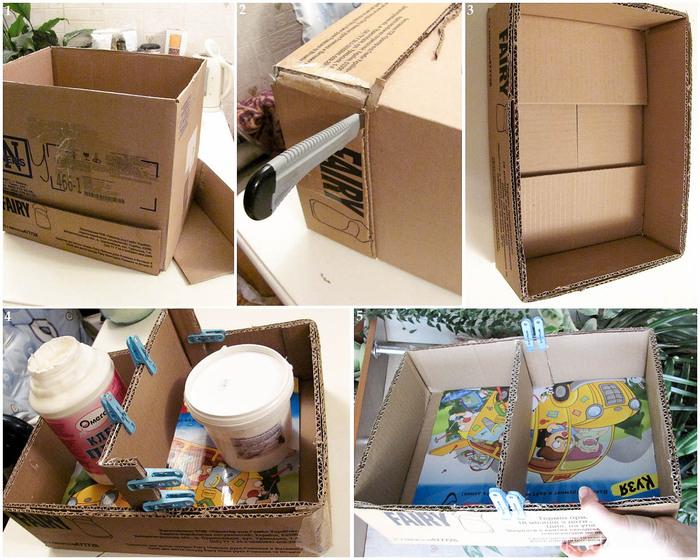 Полка из картонной коробки своими руками