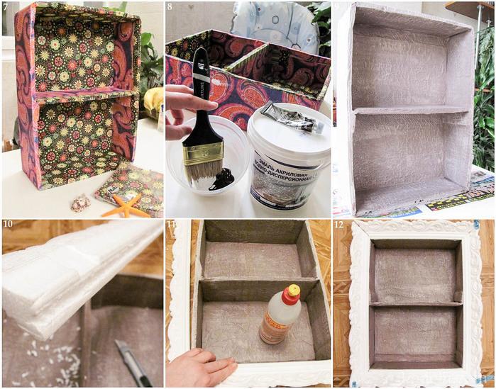 DIY home decor idea wall shelf cardboard paint napkins