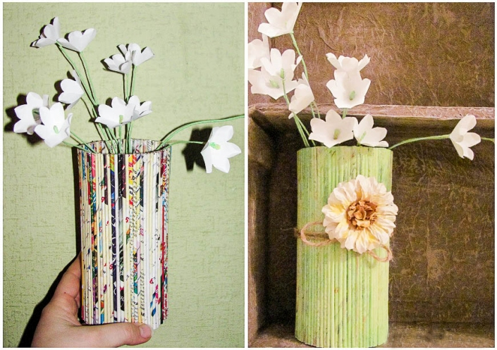 DIY home decor idea wall shelf light green vase magazines