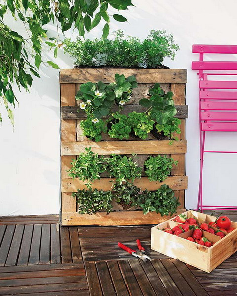 DIY pallet vertical garden burlap strawberries herbs