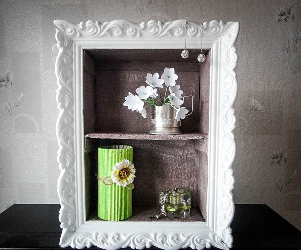 Cheap diy home decor idea decorative cardboard wall shelf for Diy wall mural ideas