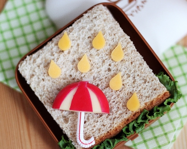 babybel umbrella sandwich idea rain cheese