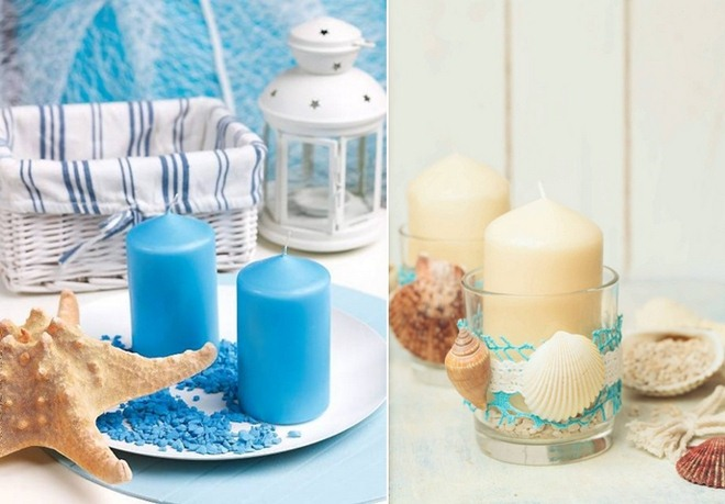 Beach home decorating ideas candles-centerpieces-sand