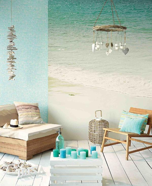 beach-home-decorating-ideas-wall-mural-wooden-crate-coffee-table-blue-pillar-candles
