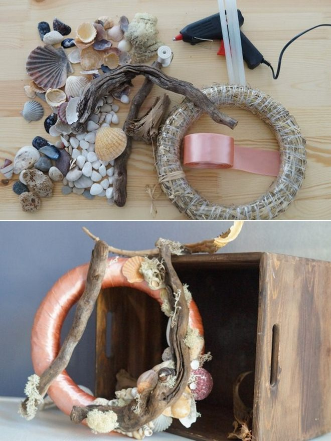 beach-home-decorating-ideas-wreath-pink-ribbon-seashells-driftwood