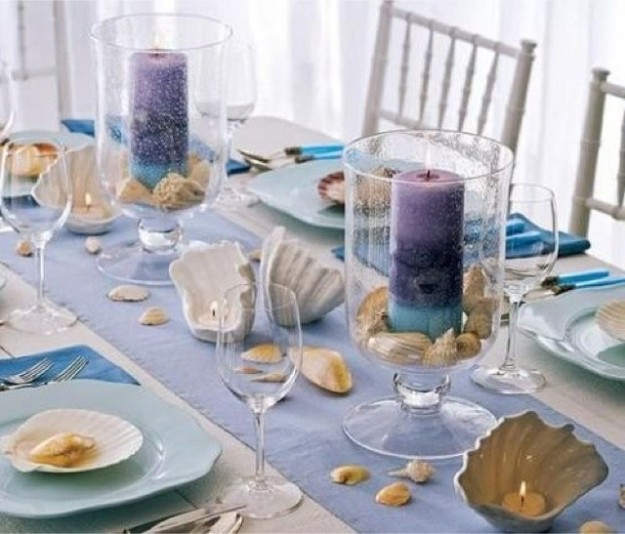 beach-table-decorating-ideas-candle-hurricanes-seashells