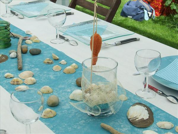 coastal themed party garden summer table runner turquoise sea shells