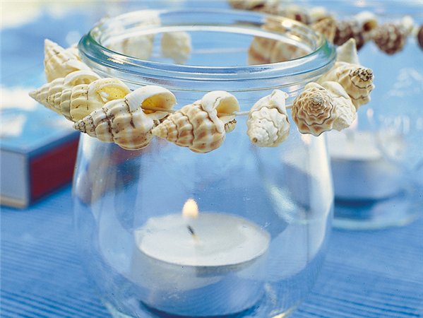 beach party decor glass candle jar seashells - Beach Theme Decor