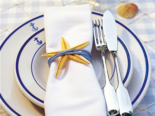 beach themed party table decor starfish napkin