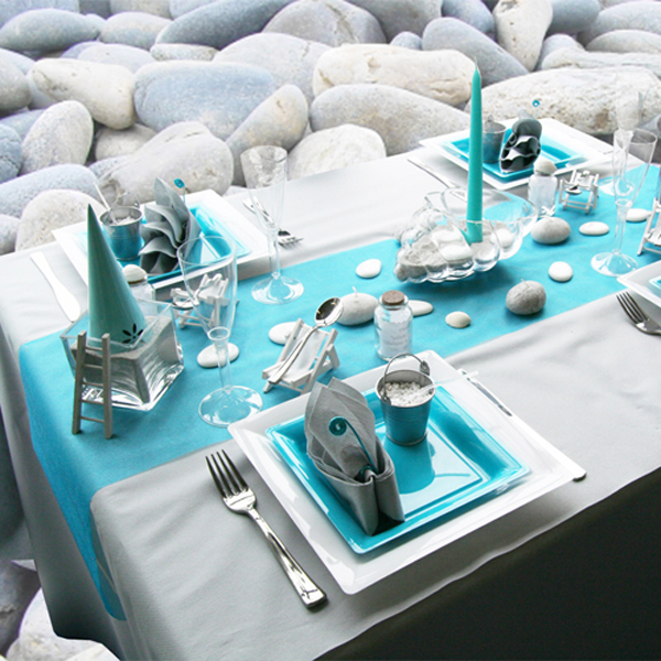 beach themed party table decor turquoise table runner tableware