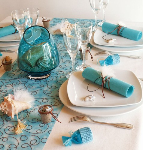 sea themed party turquoise table runner centerpiese