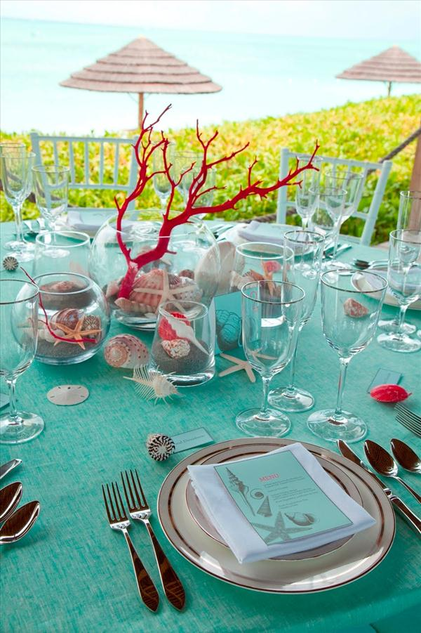 beach themed table decor wedding turquoise coral centerpiece