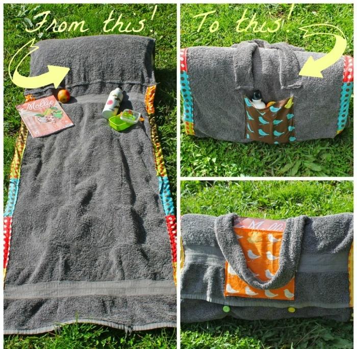 beach towel blanket diy tote bag summer project