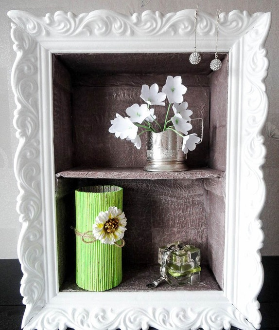 Cheap diy home decor idea decorative cardboard wall shelf Home decoration photo frames