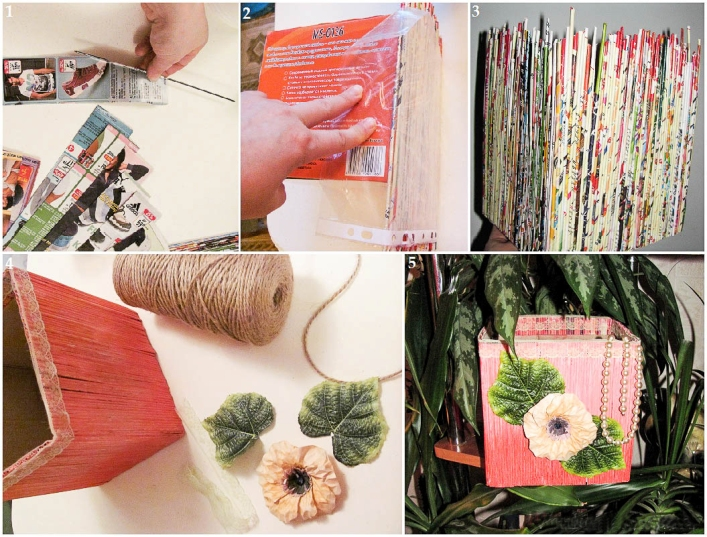 cheap DIY home decor idea vase magazine rolls light