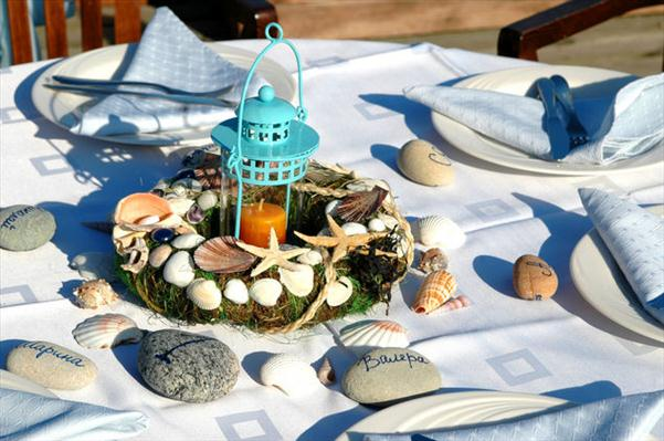 coastal table setting centerpiece lantern wreath  glued sea shells