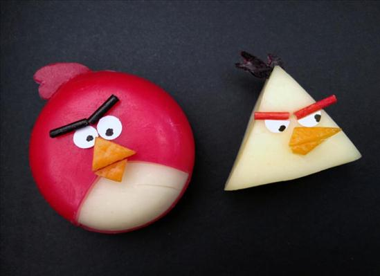cute party food angry birds babybel minis