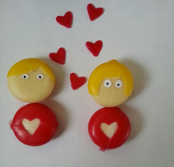 cute party food boy girl inlove babybel cheese