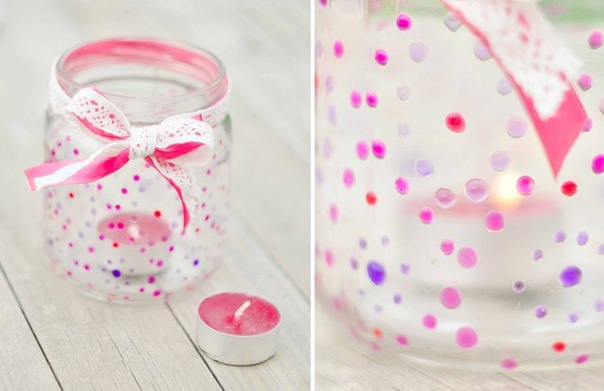 decorating-glass-candle-holders-coloful-dots-ribbon