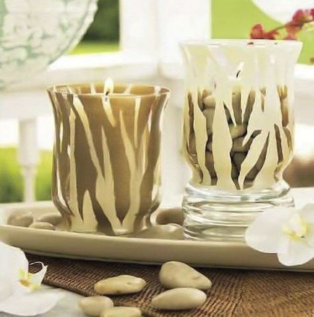 decorating-glass-candle-holders-tape-paint-zebra-pattern