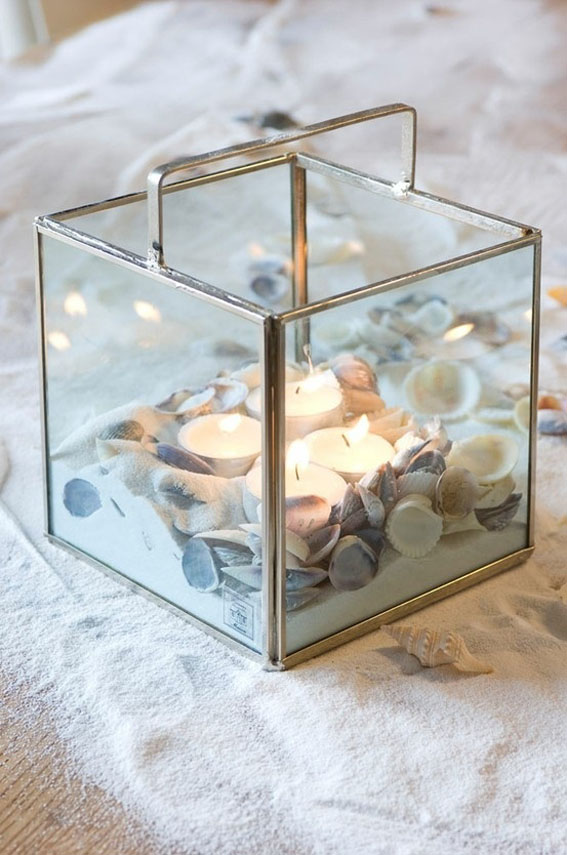 decorating-glass candle holders-tea-candles-sea-shells