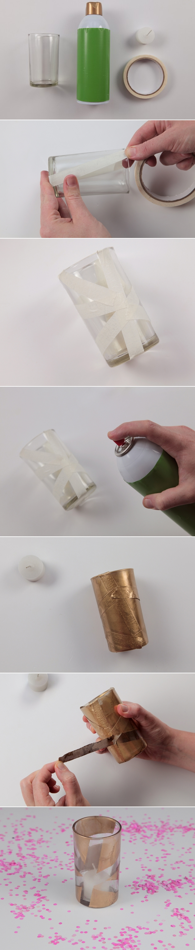 decorating-ideas glass candle holders tutorial-spray-paint-tape