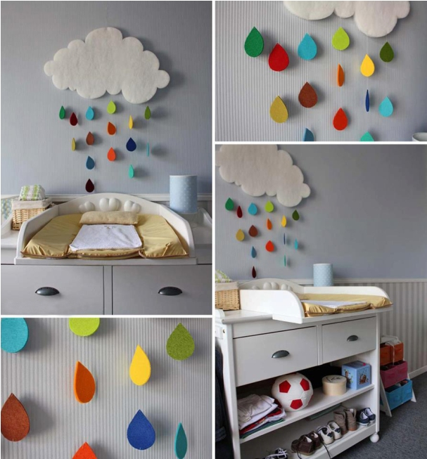 diy baby nursery decor rainy cloud raindrops colourful