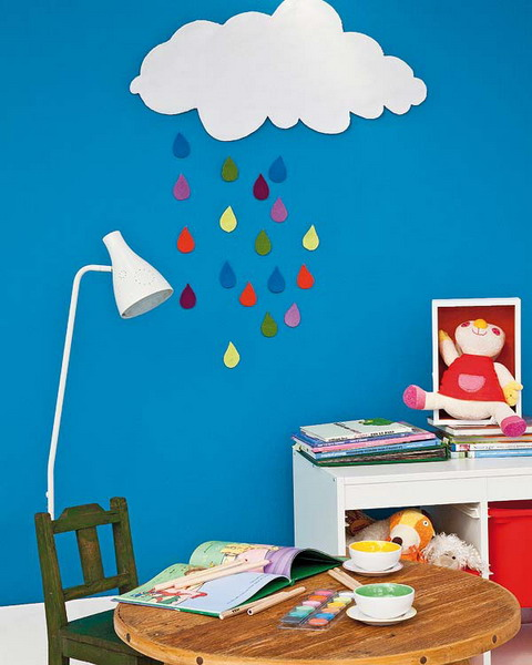 diy boys room decoration project felt rainy clowd