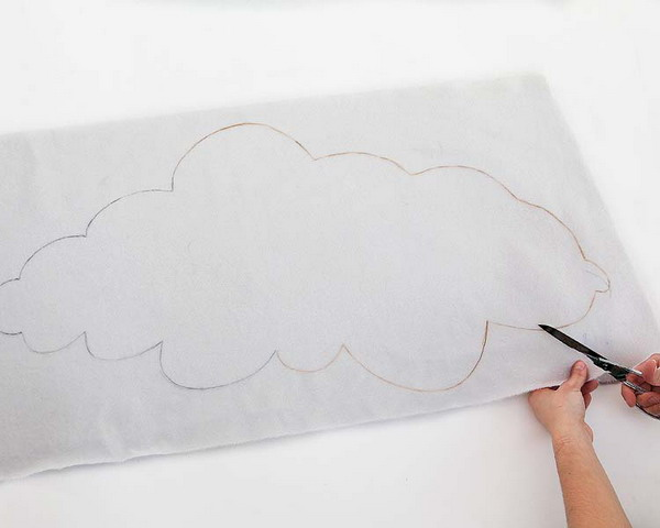 diy decoration project children room white felt cloud form