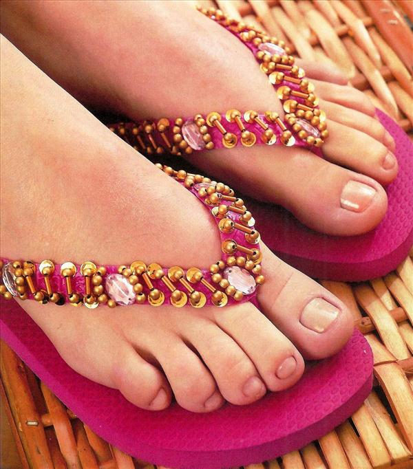 diy flip flop projects beads gold pink flops