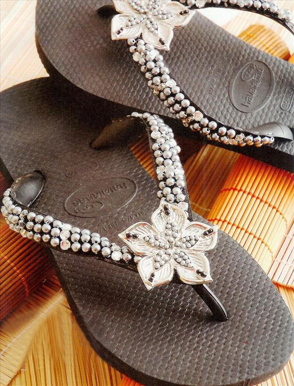 diy fashion projects black flip flops silver flower beads