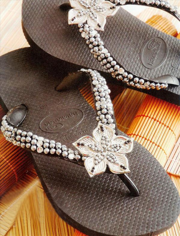 diy fashion projects black flip flops silver flower beads
