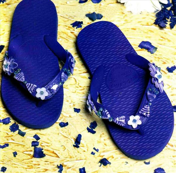 diy flip flops blue marine beads fishes flowers