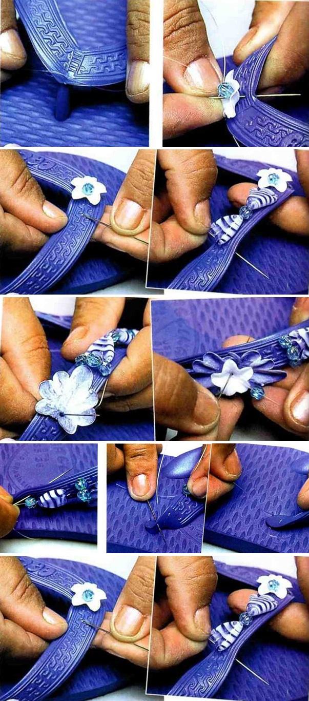 diy flip flops summer foot wear blue nautical beads
