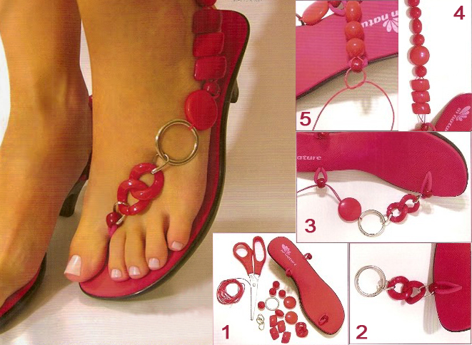 diy flip flop projects coral color beads one sided
