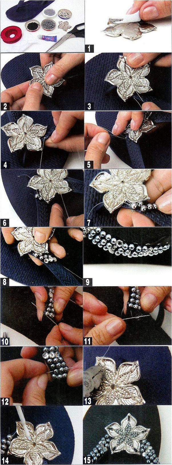 diy flip flops embellish flower beads silver black