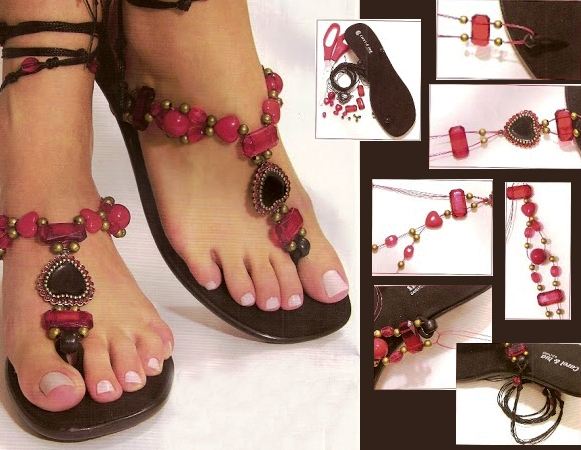 diy flip flop projects infinity sandals beads red brown