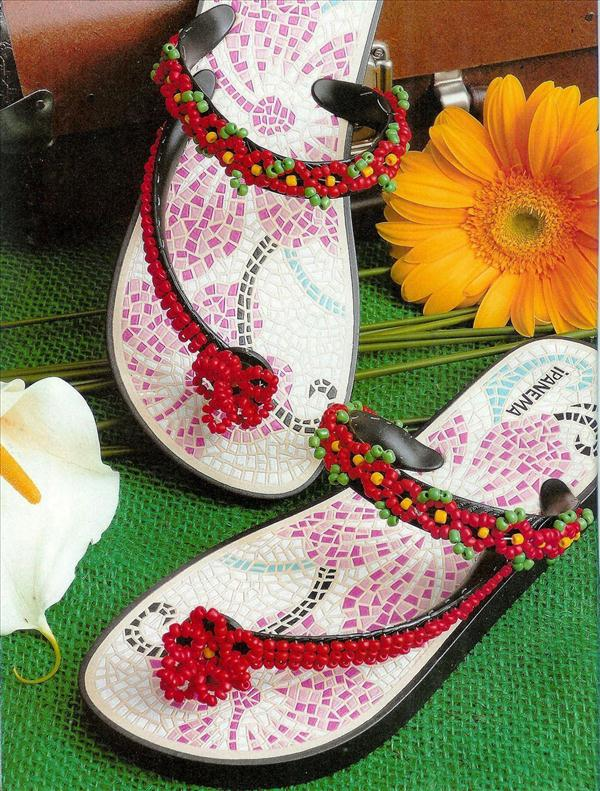 diy flip flop projects old ipanema red beads