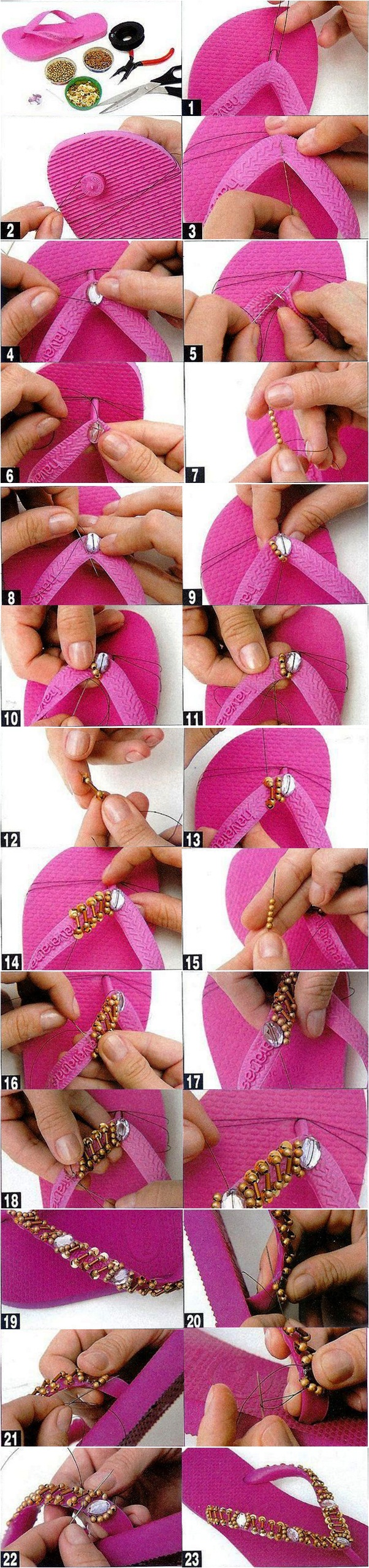 diy fashion summer projects pink flip flops gold tutorial beads