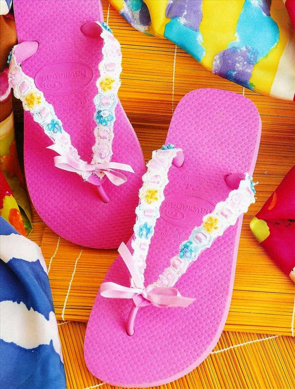 diy flip flop projects pink lace ribbon beads