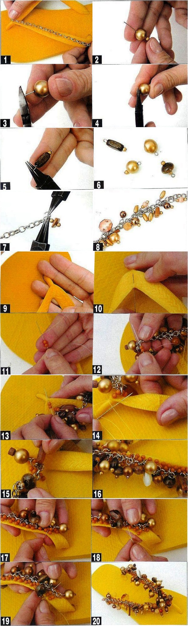 diy flip flop decoration beads yellow bracelet tutorial